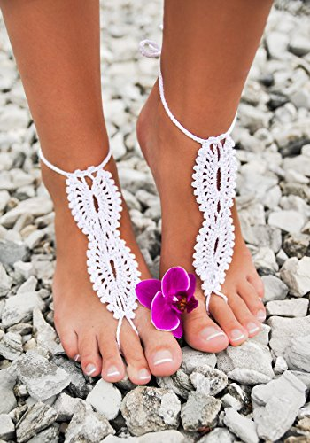 White crochet barefoot sandals, Bridal Barefoot Sandals, Bridal Foot jewelry, Beach wedding barefoot sandals, Lace shoes, Beach wedding sole less shoes