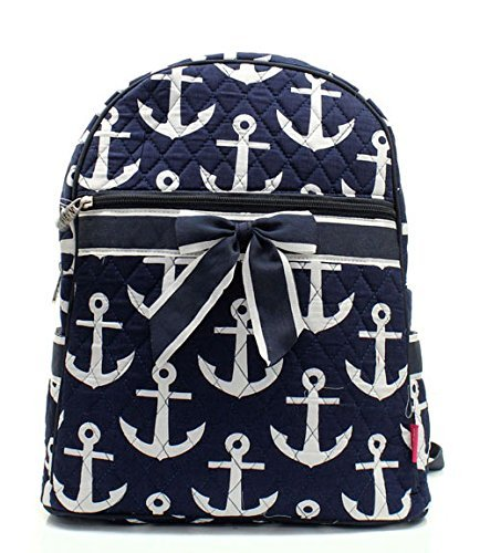 Nautical Anchor Print Quilted Backpack Handbag]()