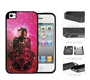 Colorful Hamsa Hand Nebula Series 2-Piece Dual Layer High Impact Black Silicone Cell Phone Case iPhone 4 4s (horse)