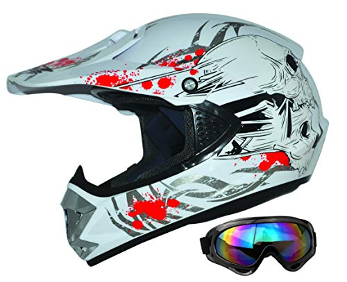 ATO Moto Kids Pro Kinderhelm in Weiß inklusive MX Motorrad Brille
