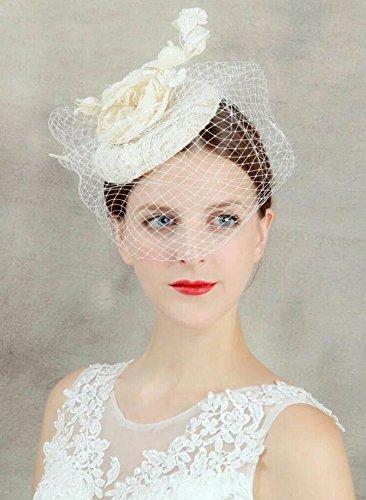 ASIN Noble Beige Handmade Flowers Gauze Veil Face Concealed Banquet Headdress Hair Ornaments Bride Bridal Wedding Accessory Hair Head Wear Hat