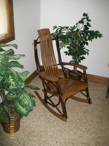 Rustic Hickory & Oak Rocker *Walnut Stain* Rustic Furniture Amish Made in USA
