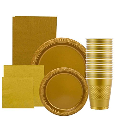 JAM Paper Party Supply Assortment Pack - Gold - Plates (2 Sizes), Napkins (2 Sizes), Cups (1 pack) & Tablecloth (1 pack) - 6/pack