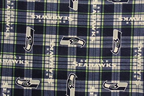 Seattle Seahawks Football Plaid Anti-Pill Polar Fleece - Plush Fabric Polyester 13 Oz 58-60