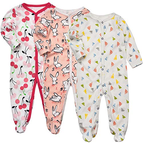 Baby Footed Sleeper Girl - Infant Long Sleeve Warm Snug Fit Cotton One Piece Footies Pajamas Onesie 10-12 - Baby Piece 10