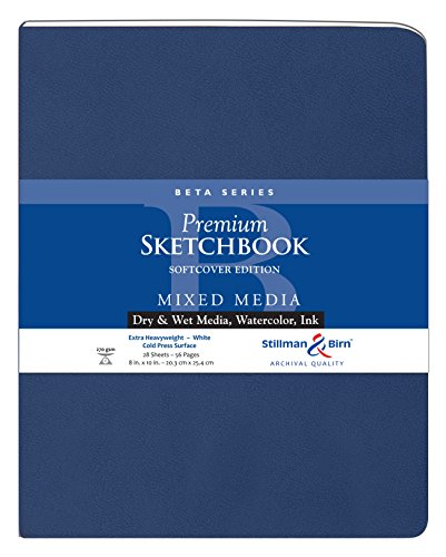 Beta Series Softcover Sketchbook Edition, Heavyweight , 270 gsm, White, Cold Press, 26 Sheets/52 Pages - 8 x 10 by Stillman & Birn