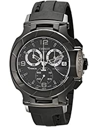 Men's T0484173705700 T-Race Stainless Steel Black Watch with Rubber Strap