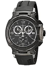 Tissot Men's T0484173705700 T-Race Black Chronograph Dial Black Rubber Strap Watch