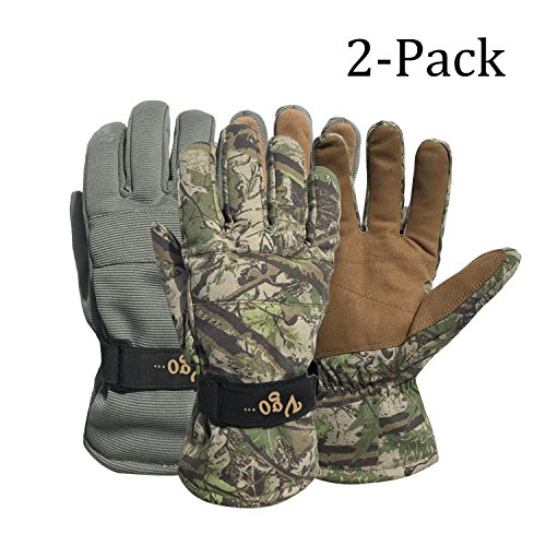Vgo... 2Pairs -4? or Above 3M Thinsulate G80 Lined Winter Gloves Designed for Skiing,Outdoor,Shredding,Shoveling&Snowballs,Waterproof, Windproof(Cadet Blue and Camo Color,SL2269)
