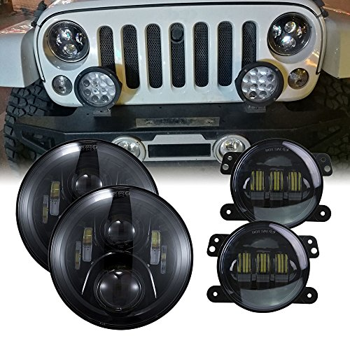 7 inch LED Headlights DOT 4 inch Fog Lights Bulbs Set Kit Projector 6000K for Jeep Wrangler JK LJ JKU TJ CJ Sahara Rubicon Freedom Dragon Edition Unlimited Hard Rock Sport Headlamps Lights Lamps Black