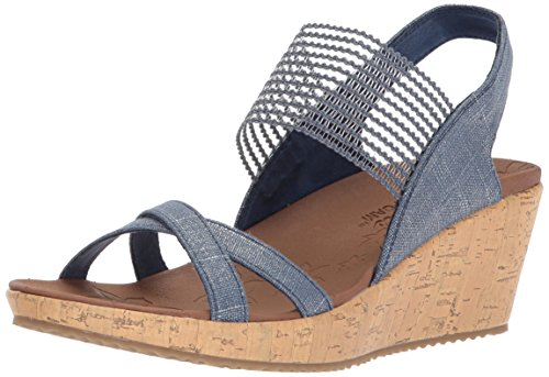 Skechers Cali Women's Beverlee-High Tea Wedge Sandal,navy,6 M US