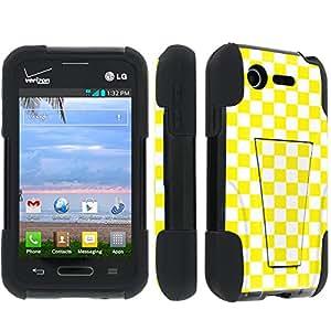 SkinGuardz LG L34C Optimus Fuel / Zone 2 VS415 Heavy Duty Armor Kickstand Case - (Yellow Checker Black)