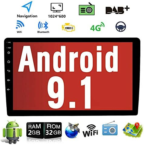 Android 9.1 10.1 Inch Touch Screen 2Din Car Multimedia Radio GPS Navigation in-Dash Car Stereo MP5 Player Autoradio with WiFi Bluetooth USB OBD 2G RAM 16G ROM