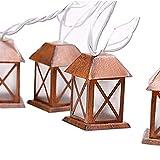 Lidore? Set of 10 Warm White Glow Bronze Metal House Shaped Lantern Plug-in String Light