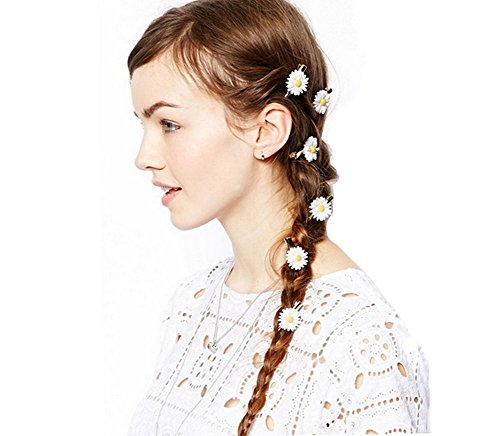Set of 6 Boutique Pastoral White Little Daisy Flower Hair Rope Hair Band Hair -