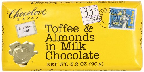 Toffee Almond Milk (Chocolove Toffee and Almonds in Milk Chocolate, 3.2 Ounce (Pack of 12))