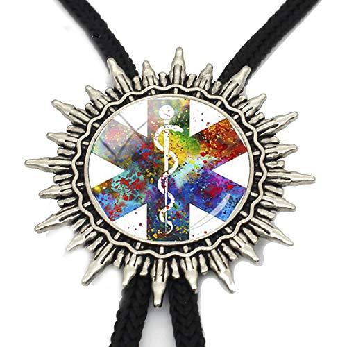 (JIA-WALK Caduceus Medical Symbol Bolo Tie Watercolor Art Print Slide Neckties Metal Ties Men Jewelry,T4)