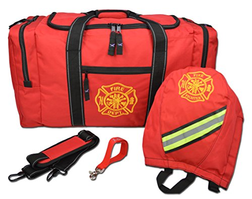 Lightning X Firefighter Turnout Gear Package - Gear Bag, SCBA Mask Bag, Fire Glove Strap, Shoulder Strap (Red)