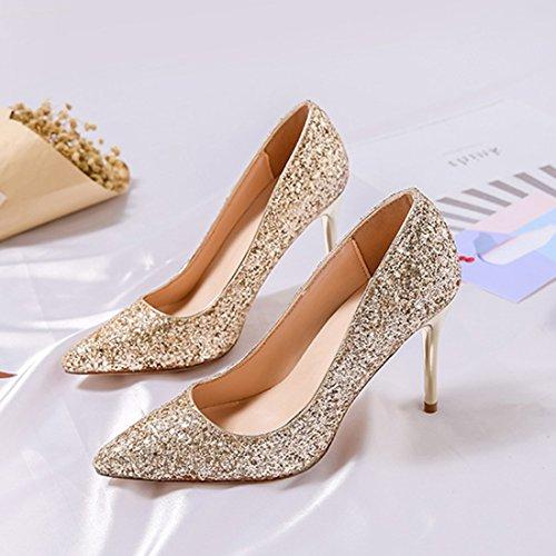 YIBLBOX Damen Schuhe Pumps High Heels Stiletto für Party Hochzeit Silber&Schwarz 9CM pGDuA