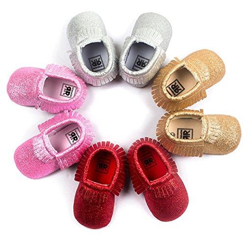 HAPPY CHERRY Suaves Zapatos Calzado de Primeros Pasos Zapatitos sin Cordones Mocasines con Borlas para Bebés Niños Niñas 12 - 18 Meses 13CM Talla EU 21 Color Rojo Brillante Plata Brillante