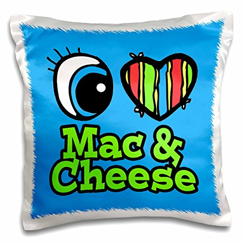 3dRose Bright Eye Heart I Love Mac and Cheese - Pillow Case, 16 by 16-inch (pc_106267_1)
