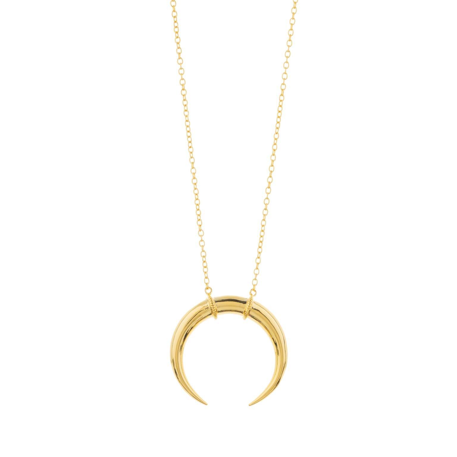 Gorjana Women's Cayne Crescent Pendant Necklace - 18k Gold Plated - Moon Pendant Necklace - Modern Style