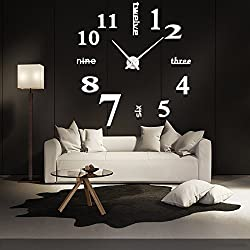 FASHION in THE CITY New 3D DIY Mirror Surface Wall Clocks Modern Design Living Room Decorative Wall Watches … (Gold)