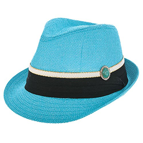 TD Collections Women's Summer Crystal Accent Vintage Fedora Hat (Turquoise)
