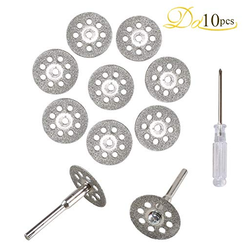 (Diamond Cutting Disc, Dayree 10pcs 22mm Mini Cut Off Wheel with Mandrel & Screwdriver for Dremel Rotary Tools Gemstones Glass Cutting)