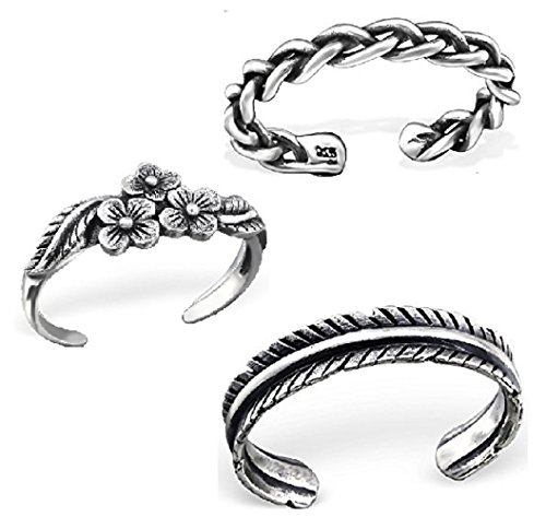 - 925 Sterling Silver set of 3 Oxidized Flowers, Leaf, Braided Adjustable Toe Ring or Above Knuckle Ring Mid Finger