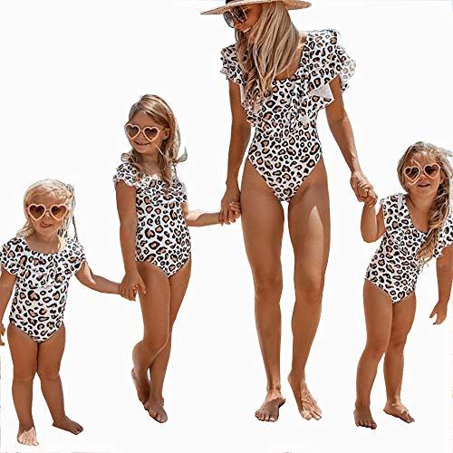 (Women's One Piece Bikini Parent-Child Family Matching Swimsuit Leopard Ruffle Beachwear)