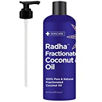 Radha Beauty Fractionated Coconut Oil - 100% Pure & Natural Carrier and Base Oil for Aromatherapy, Hair and Skin - Comes with Pump, 16 fl oz.