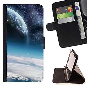 Dragon Case- Mappen-Kasten-Prima caja de la PU billetera de cuero con ranuras para tarjetas, efectivo Compartimiento desmontable y correa para la mu?eca FOR Apple iPhone 6 6S 4.7 - Space Moon