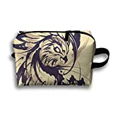 Women's Travel Case Cosmetic Storage Bags Eagle Tattoo Art Love Makeup Clutch Pouch Organizer Bag Pencil Holder