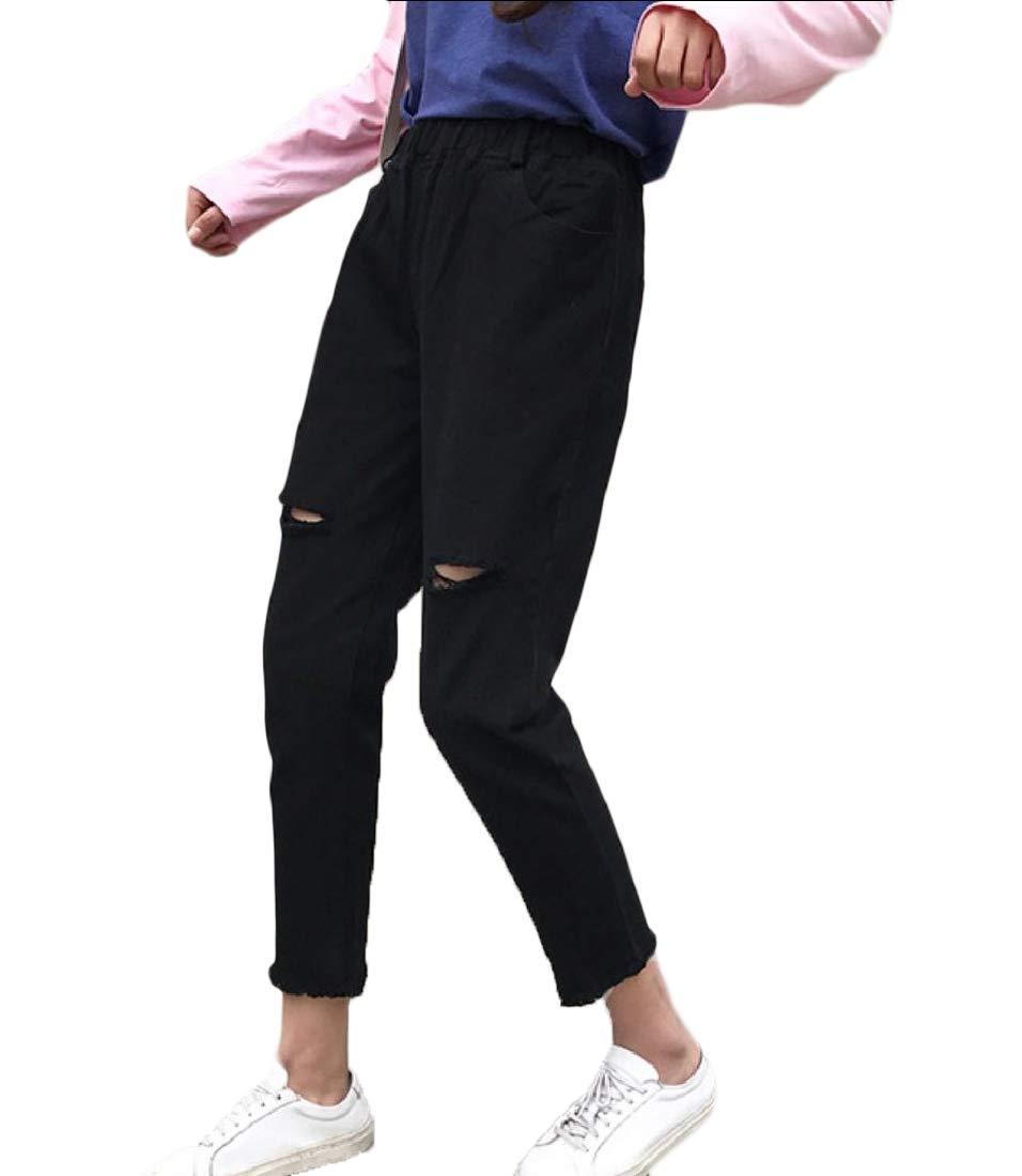 Doufine-women clothes Womens Casual Hole Harem Plus Size Fringed Slim Trousers Ankle Jeans Black XS