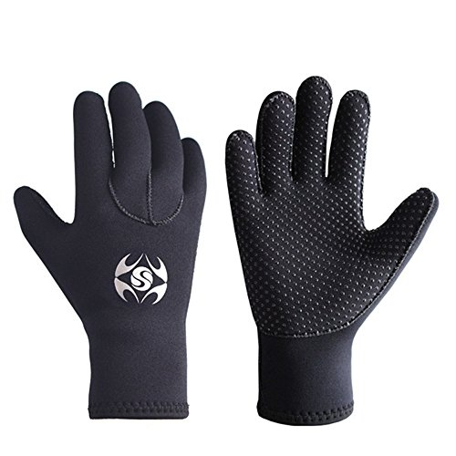 Diving Gloves Neoprene, Wetsuits Five Finger Gloves, 3MM Anti Slip Flexible Thermal Material for Snorkeling Swimming Surfing Sailing Kayaking Diving (M) ()
