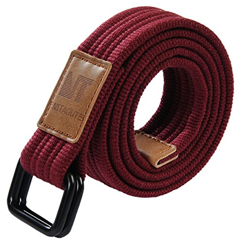 NITAGUT Casual Canvas Web Belts for Men with Military Style D-ring Buckle Men's Belt Extra Long Belt