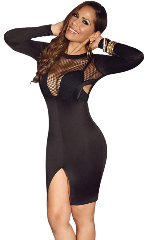 YeeATZ Black Mesh Fishnet Cutouts Front Open Slit Stylish Dress