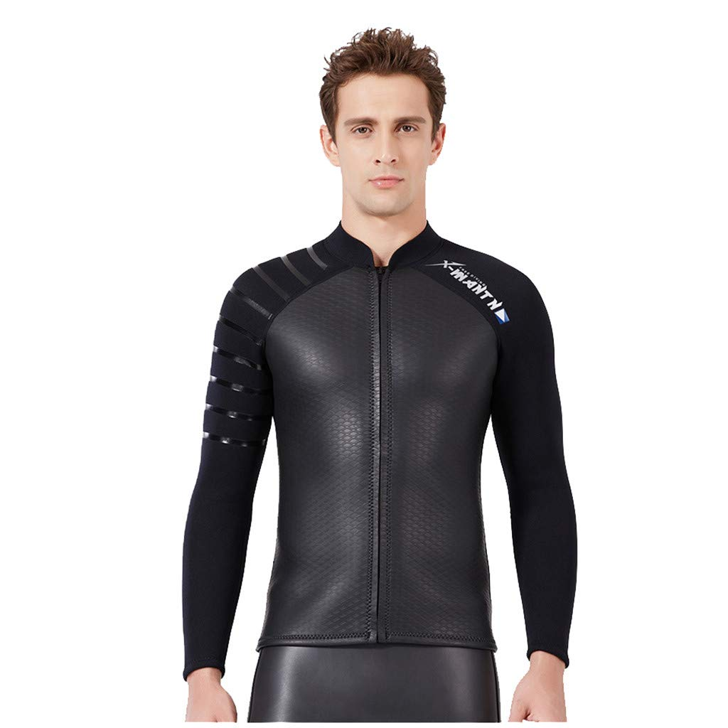 Allywit Men's Best Neoprene Wetsuit Jacket Front Zipper Long Sleeves Workout Tank Top for Swimming Snorkeling Surfing Black