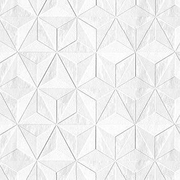 Papier Peint Graine Intisse Origami Blanc Mica 52cm X 10 05m Amazon