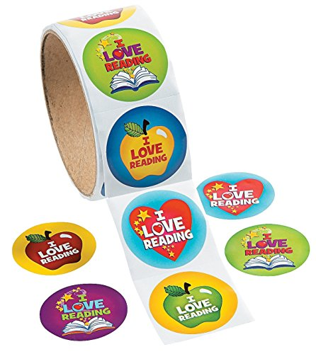 1 Roll, I Love Reading Stickers, 100 Round Paper Stickers Total Approx. 1.5