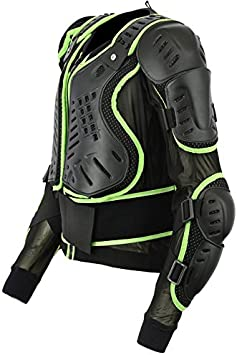 Green, XXX-Large Chest 46 Motocross Motorbike Body Armour Motorcycle Protection Jacket Armoured Mountain Cycling Riding Skating Snowboarding Track Crash Guard CE Approved