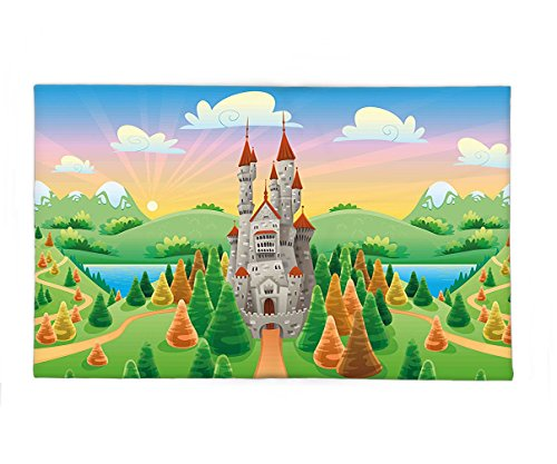 Paper Bag Princess Costume Prince (Interestlee Fleece Throw Blanket Cartoon Fairytale Princess and Prince Charming Castle Forest and Trees Mountain Print Multicolor)