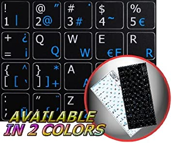 -ENGLISH NON-TRANSPARENT KEYBOARD STICKERS ON BLACK BACKGROUND TRADITIONAL SPANISH