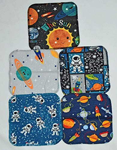 Handmade Kids - 1 Ply Printed Flannel 8x8 Inches Little Wipes Set of 5 Out Of This World