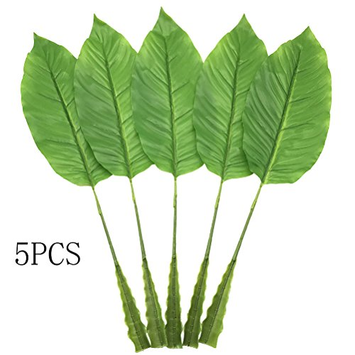 5Pcs Tropical Leaves,Fake Artificial Banana leaf for Home Kitchen Party Decorations by Warmter (Green) (Stem Decoration Banana)