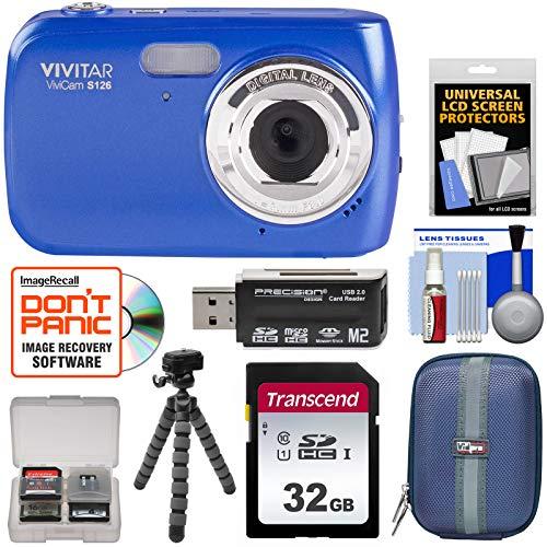 Blue Vivitar Vivicam (Vivitar ViviCam S126 Digital Camera (Blue) with 32GB Card + Hard Case + Flex Tripod + Reader + Kit)