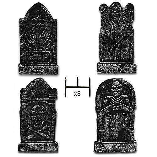 Mavicen Halloween Décor Foam RIP Tombstones Pack of 4 Scary Halloween Decoration Headstone 17