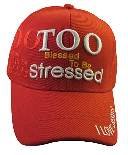 Youth Kid's Religious - I Love Jesus, Christian Baseball Cap Style Hat (Too Blessed - Red) by Altis Apparel