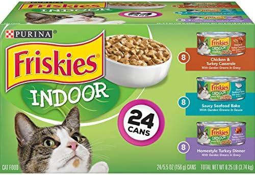 Purina Friskies Indoor Wet Cat Food Variety Pack, Indoor – 24 5.5 oz. Cans